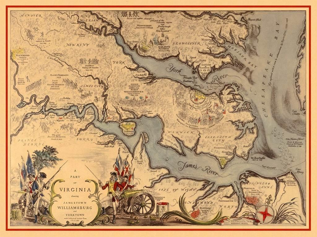 美國獨立戰爭期間,法國艦隊與英國艦隊在乞沙比克灣進行海戰位置圖。(圖/推特@SWOConnell)