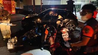 台南七股轎車機車相撞 5分鐘後又一機車撞上