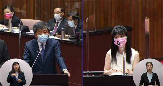 民進黨立委高嘉瑜22日質詢衛福部長陳時中。(取自立法院議事轉播)