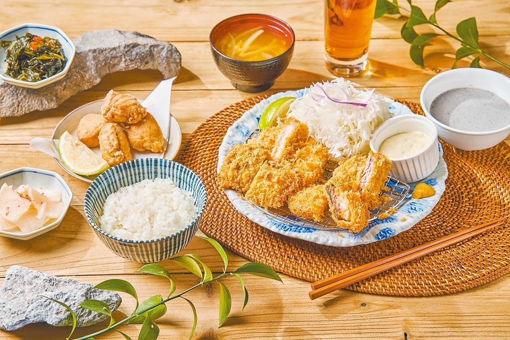杏子豬排海陸三拼雙人套餐,原價616元,五倍券優惠500元。(六角國際提供)