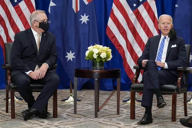 (左)澳洲總理莫里森(Scott Morrison)、(右)美國總統(Joe Biden)。(圖/美聯社)