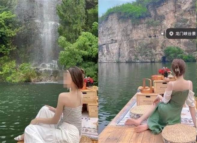佛媛的裝扮講究素雅,拍攝場景以無人風景與佛寺為主,經常會在照片的媒些角落顯露出置入的名牌皮包或飾物等商品。(圖/網路)