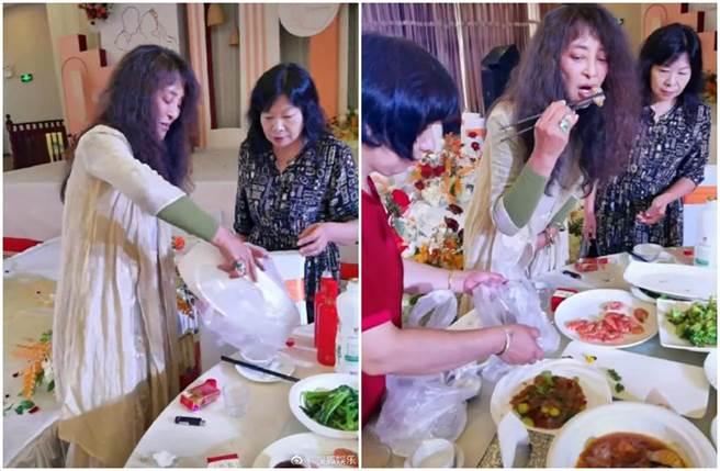 李勤勤婚宴會場沿桌打包剩飯菜引起熱議。(圖/微博)