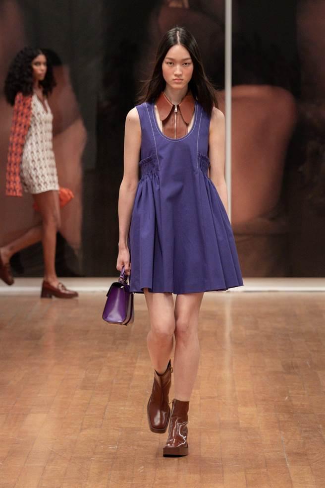 Tod's春夏女裝色彩鮮豔,並在細節融入皮革工藝元素。(Tod's提供)