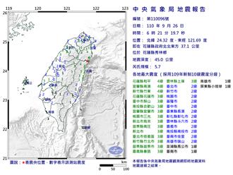 花蓮5.7地震 創該地史上最大隱沒帶地震 2天內防規模4餘震