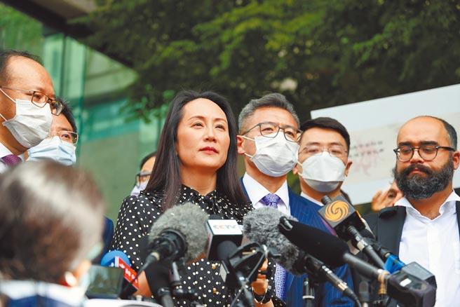 淡江大學國際事務副校長王高成認為,孟晚舟案對北京而言是美國「長臂管轄」,也代表川普政府對中國科技戰的一部分。圖為孟晚舟於加拿大時間24日受訪。(中新社)