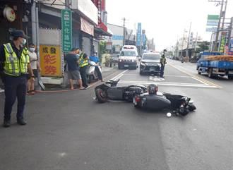 台中機車對撞意外 男騎士搶快闖紅燈 母女被撞倒
