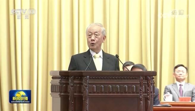 新黨前主席郁慕明26日在北京參加全國台聯成立40周年活動並上台發言。(摘自央視)