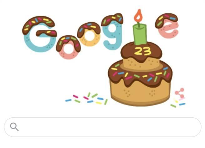 今(27日)是Google的23歲生日,Google特別在首頁用可愛的巧克力蛋糕和大家打招呼。(翻攝自Google首頁)