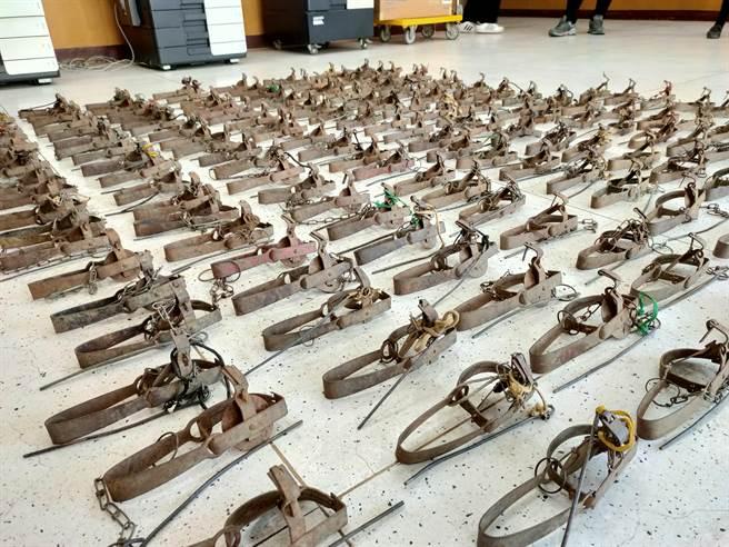 嘉義縣家畜疾病防治所在義竹鄉一處專門販售田鼠肉民宅查獲數量高達170具的捕獸鋏。(嘉義縣家畜疾病防治所提供∕呂妍庭嘉義傳真)