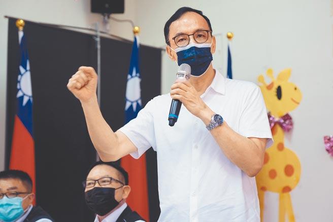 國民黨主席朱立倫對近期熱議的新竹市合併議題強調,不容許民進黨為一人之私、一黨之私搞新竹縣市合併。(羅浚濱攝)