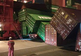 貨櫃像「積木般」連環崩塌 高雄港碼頭1貨車遭砸