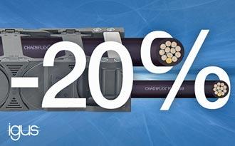 igus新型耐彎曲控制電纜 細了20%