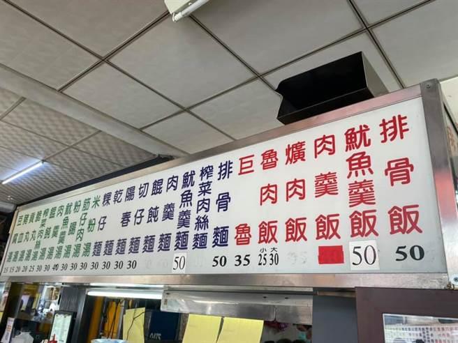 1名網友日前在路上發現1間小吃攤的招牌上有餐點稱作「巨魯」,讓他頓時相當害羞,因店家把巨大魯肉飯簡化成「巨魯」。(翻攝自臉書「路上觀察學院」)