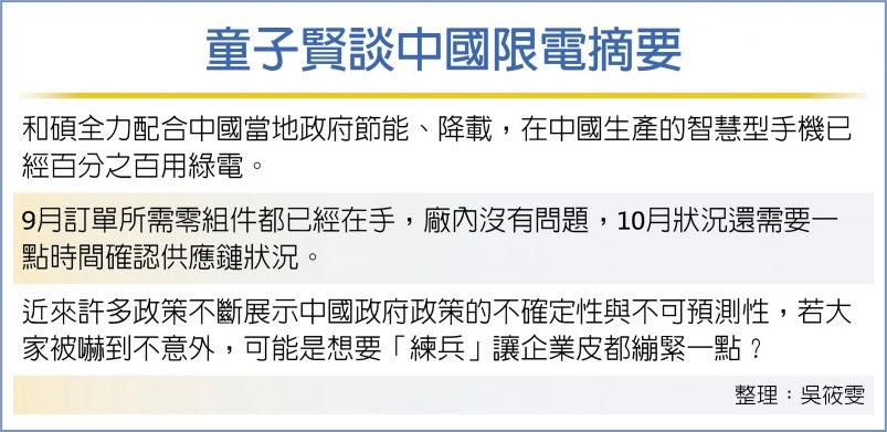 童子賢談中國限電摘要