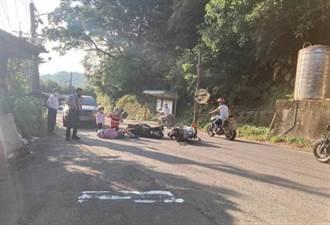 疑未禮讓主線道車輛 警騎車擦撞雙載母女 撞擊畫面曝光