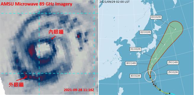 昨(28日)晚7點微波頻道雲圖(左圖)顯示,雙眼牆的置換過程仍在進行。中央氣象局今(29)日2時「路徑潛勢預測圖」(右圖)顯示,「蒲公英」在琉球東南方海面,向北北西轉北前進,未來在日本南方海面大迴轉。(左圖擷自RAMMB)