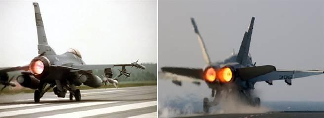 F-16使用1具普惠F100引擎,單具最大推力23,830磅力;F/A-18使用2具奇異F404引擎,2具合計推力25400磅力,同樣平分秋色。(圖/美國空軍、美國海軍)