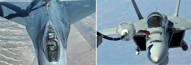F-16採用飛衍式加油,而F/A-18採用浮錨式,以後者的難度較大。(圖/美國空軍、美國海軍)