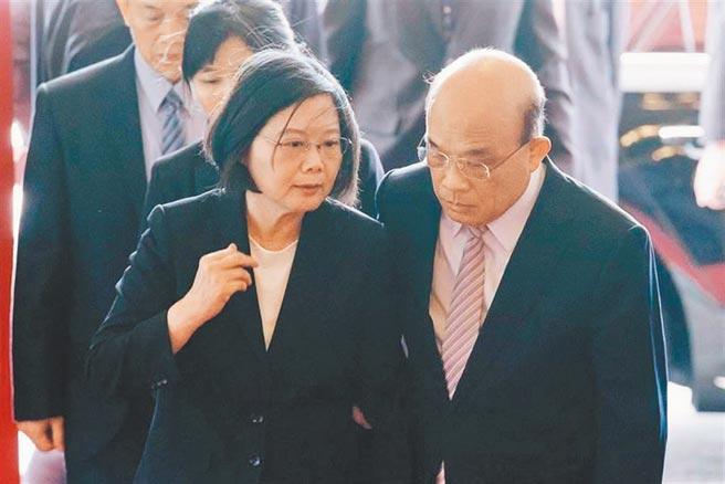 總統蔡英文(左)、行政院長蘇貞昌(右)。(本報資料照片)