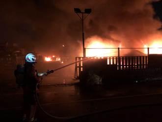 桃園平鎮廢棄汽車回收廠火警 火勢猛烈74名消防員到場搶救