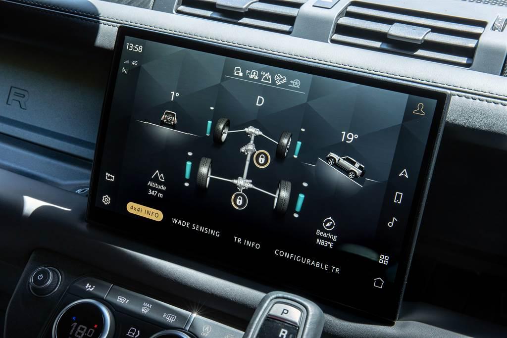 Land Rover Defender 90 V8 Carpathian Edition特仕版運用多項尖端科技,車輛資訊娛樂系統升級為11.4吋曲面觸控大型螢幕,並搭載最新Pivi Pro資訊娛樂系統,整合多項越野資訊,提供駕駛最即時的資訊。(圖/Land Rover提供)