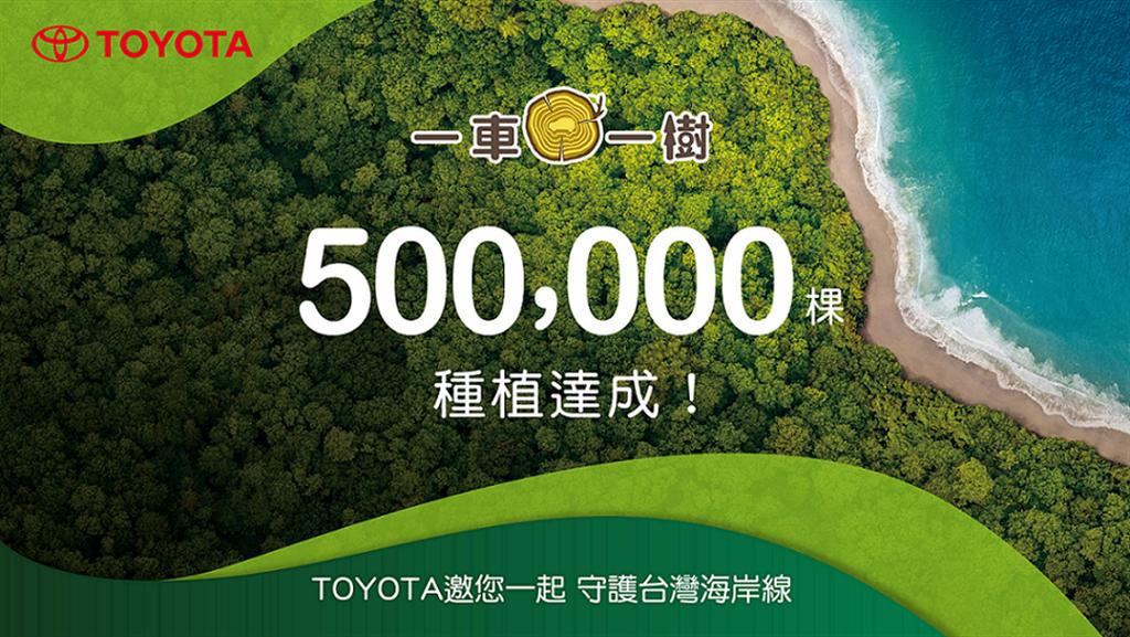 和泰汽車自2017年開始,展開「TOYOTA一車一樹」公益計畫,克服海岸造林困境,2021年9月達成「種植50萬棵里程碑」。(圖/和泰提供)