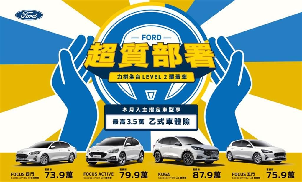 消費者於10/1起至11/30止入主Focus、Focus Active、Kuga車系,享首年「購車補助乙式車體險」最高達3.5萬元,全方位強化全民保護力,引領提升台灣車市Level 2覆蓋率。(圖/福特六和提供)