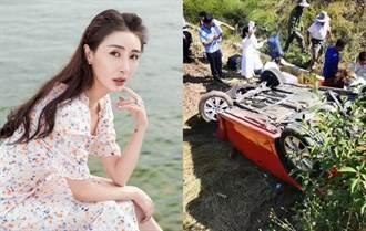 34歲女星山路出嚴重車禍「車180度翻覆」現場滿是血跡