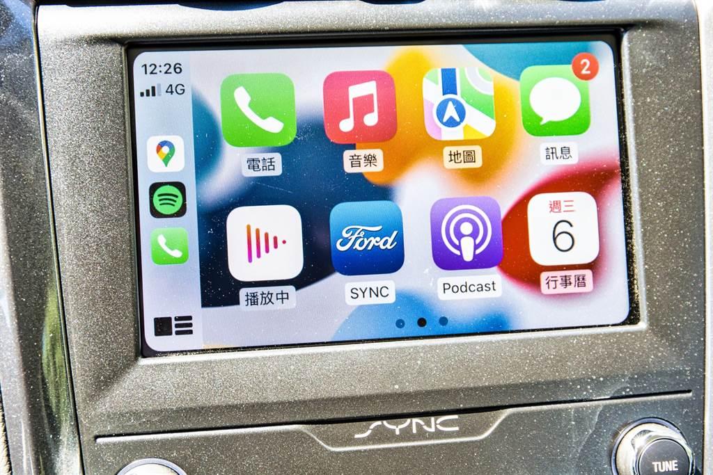 標配SYNC 3系統,支援Apple CarPlay/Android Auto手機連接介面。(圖/陳彥文攝)