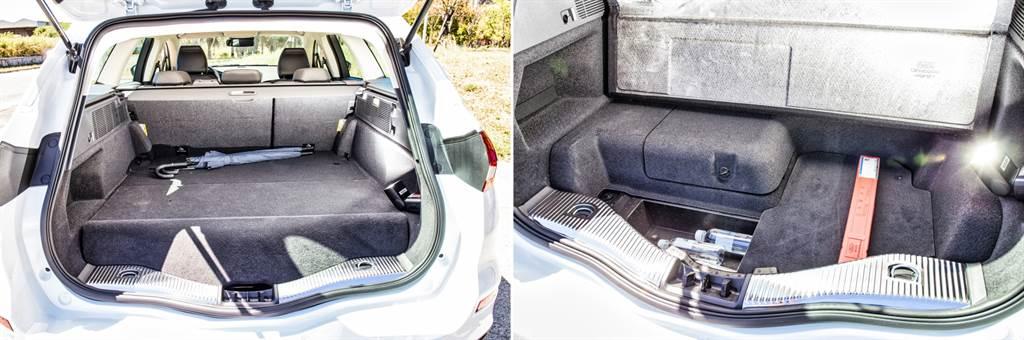 行李廂標準空間為403升,以旅行車而言略小一些,原因在於電池模組佔去部分空間,並且為了空間完整性,在底部設置隱藏式空間,將底板墊高不少。而椅背傾倒後空間可達到1508升,且椅背與行李廂正好齊平,相較房車車型,電池影響空間較小。(圖/陳彥文攝)