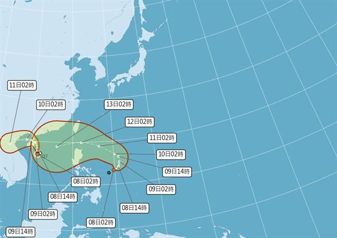颱風接力生成,下一個颱風圓規,國慶連假後將威脅台灣。(中央氣象局提供)
