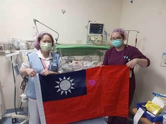 台中童醫院喜迎雙十 雙胞胎寶寶與國同慶