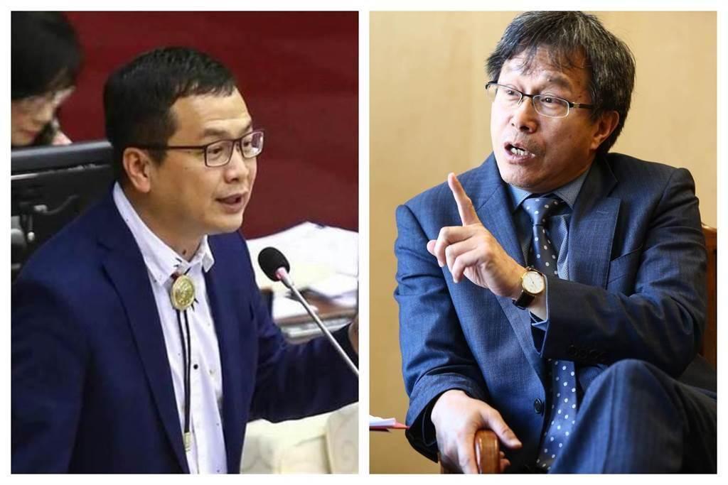 國民黨台北市議員羅智強(左)和駐德大使謝志偉。(中時合成照)