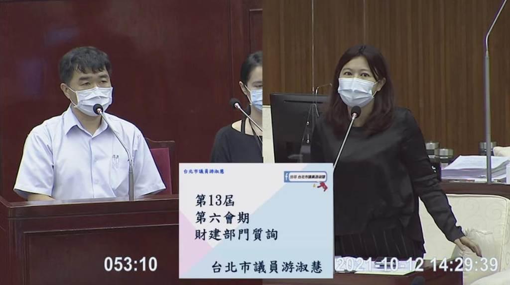 台北市議會今日排定財建部門質詢,北市議員游淑慧就八大行業狀況質詢產發局。(摘自北市議會議場直播)