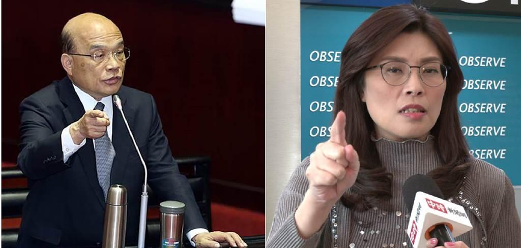 行政院長蘇貞昌(左)、國民黨立委 鄭麗文(右)。(圖/合成圖,本報資料照)