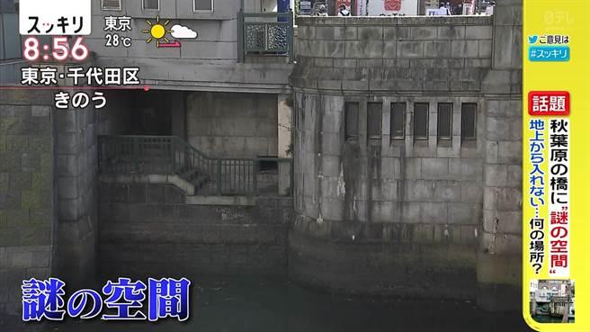 秋葉原「萬世橋」的橋下有個詭異空間,但卻沒有出入口,近日有節目單位進行調查,才知道密室的真實用途。(圖翻攝自推特/@kirifurikogen)