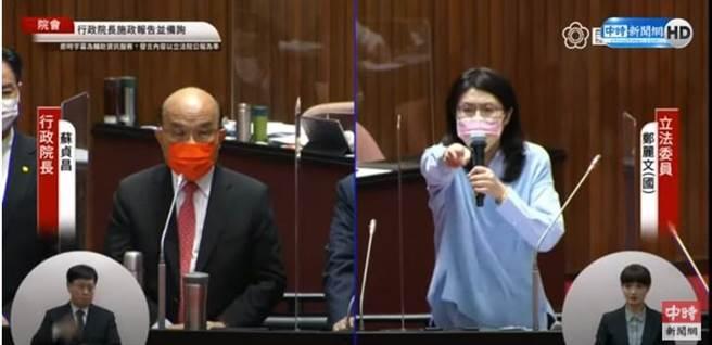 國民黨鄭麗文12日在立法院質詢行政院長蘇貞昌。(圖 翻攝自中時新聞網直播畫面)