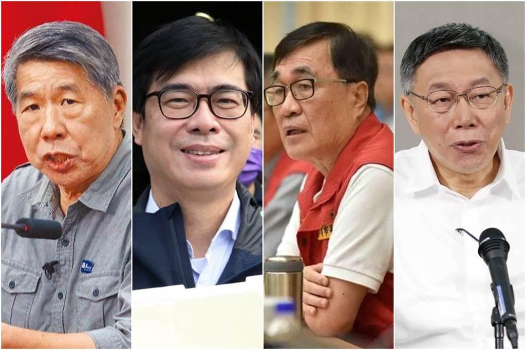 2022高雄市長選舉,若陳其邁(左二)爭取連任,外界猜測,可能對上國民黨張亞中(左一)、李四川(左三)或民眾黨柯文哲(左四)。(合成圖/資料照)