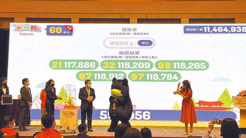 交通部觀光局規畫的國旅券12日上午抽出首批60萬名幸運兒,中獎者為身分證後2碼為21、32、98,67、97及身分證後3碼為410的民眾。(觀光局提供)