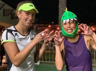 網球》戴恐龍頭套受訪 謝淑薇獲封「傳奇」