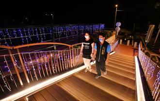草湖溪自行車道健民里段 景觀燈亮起 民眾直呼浪漫