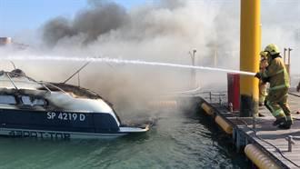 布袋遊艇港千萬遊艇起火沉海底 船主恐遭求償