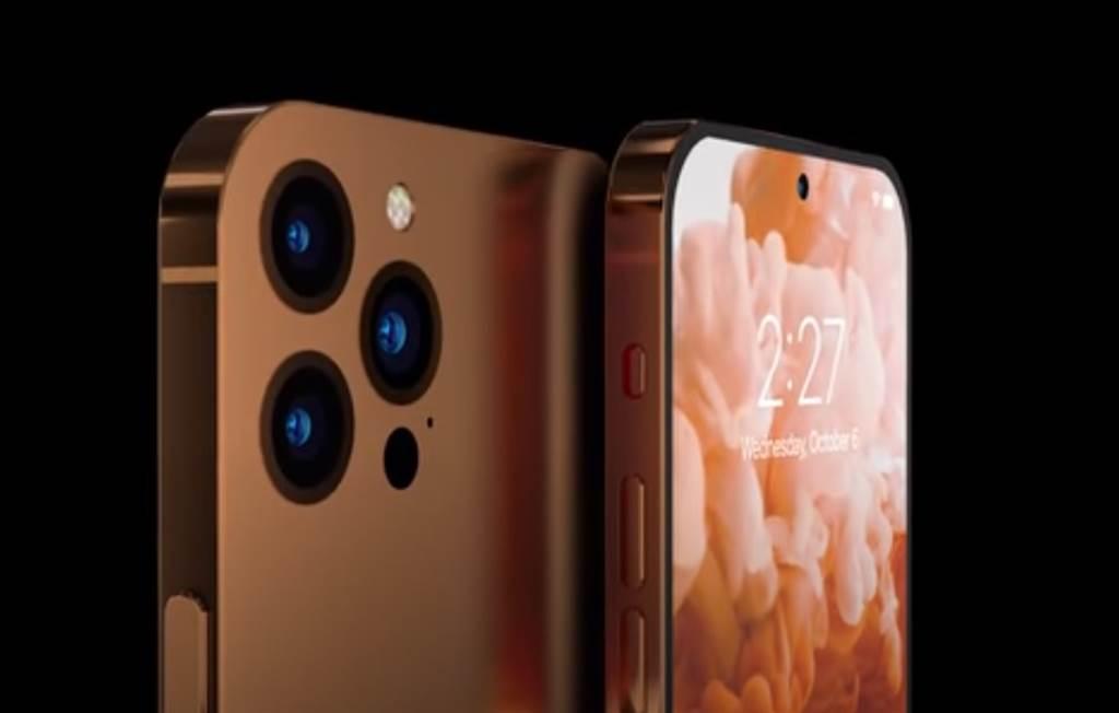 iPhone 14 概念機不僅沒有瀏海,背後三個鏡頭也不再突起。(圖翻攝Youtube 頻道 ConceptsiPhone)