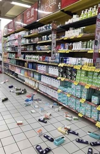 6.5強震搖很大!超市貨架如山崩掉滿地 現場慘況曝