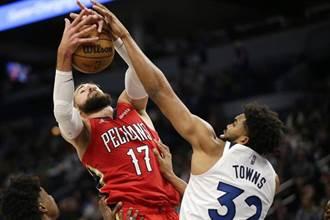 NBA》瓦蘭丘納斯「雙20」擒灰狼 鵜鶘奪首勝