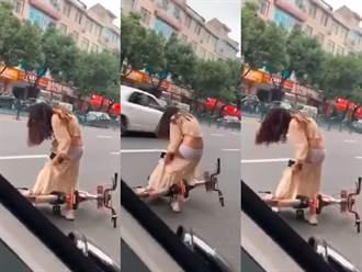 腳踏車勾正妹長裙下拉 內在美全看光 拍攝者不救網幸災樂禍