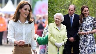 化身鄰家賢淑孫媳婦!凱特伴女王遊花園帶3寶盪鞦韆玩...